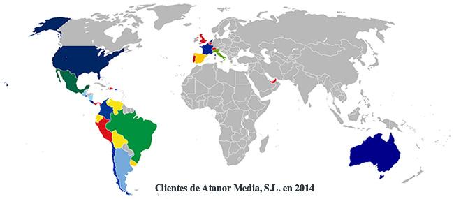 Clientes de Atanor Media por países en 2014