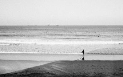 Playa de Salinas y San Juan. Día de sol en invierno.